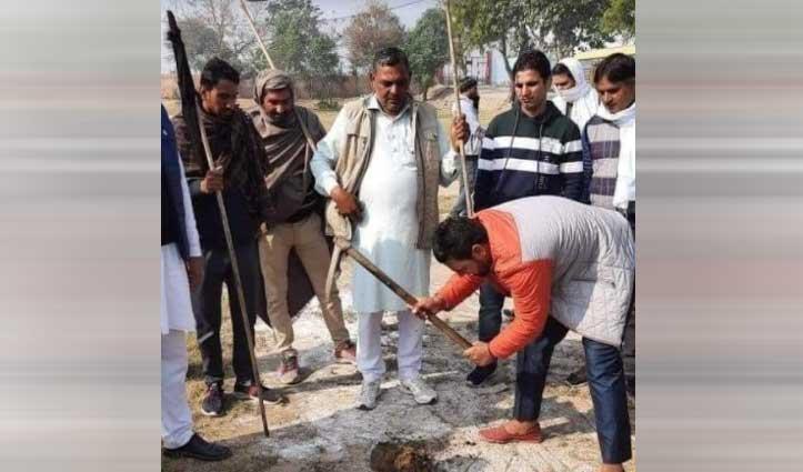 #Haryana : शादी में आ रहे थे डिप्टी सीएम #Dushyant_Chautala, किसानों ने खोद डाला Helipad