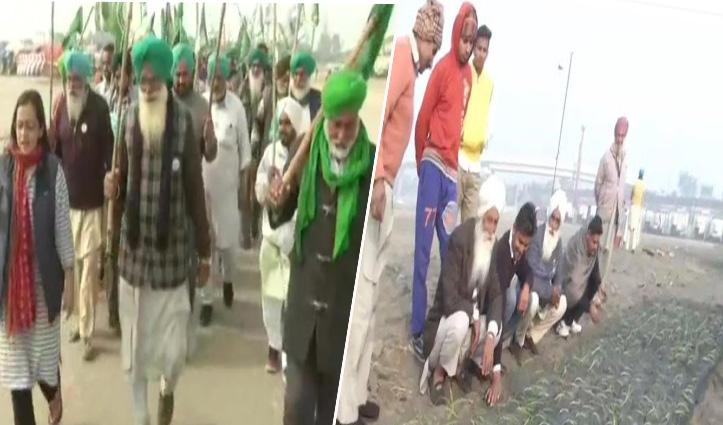 #FarmersProtest : चिल्ला बॉर्डर पर किसानों ने की #Republic_Day परेड की रिहर्सल, बुराड़ी में बोए जा रहे प्याज