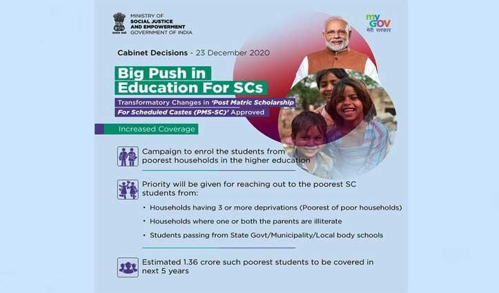 Cabinet:59 हजार करोड़ की  पोस्ट मैट्रिक स्कॉलरशिप योजना को मंजूरी, चार करोड़ छात्रों को मिलेगा लाभ