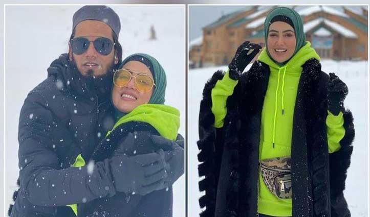 #Kashmir की वादियों में बर्फबारी का लुत्फ, हनीमून मनाने गई #Sana ने शेयर की खूबसूरत फोटो