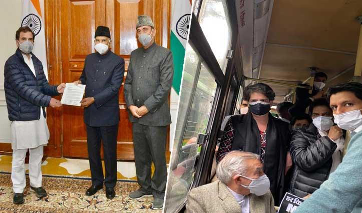 किसानों के समर्थन में राष्ट्रपति से मिले #Rahul_Gandhi, प्रियंका हिरासत के बाद रिहा