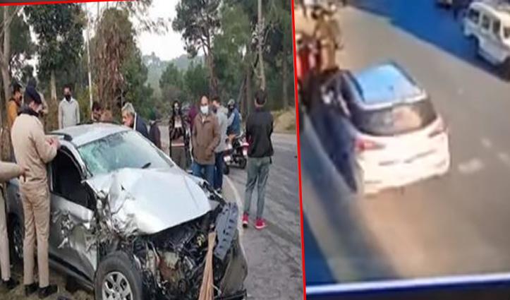 Hamirpur: बड़सर में राहगीरों को टक्कर मारने के बाद कैंटर से टकराई Car, राइफल बरामद