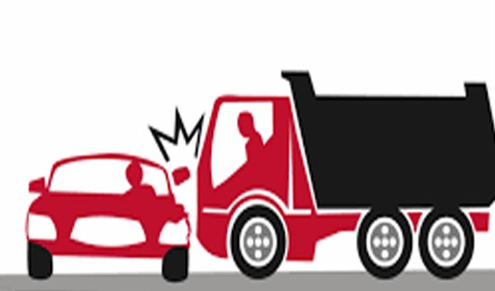 Una में ट्रक से टकराई तेज रफ्तार Car, दो युवक गंभीर घायल-एक PGI रेफर