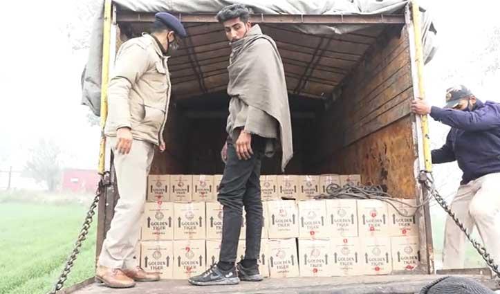 चुनावी बेला में ट्रक से पकड़ी 402 पेटी अंग्रेजी शराब, #Una_Police को मिली कामयाबी