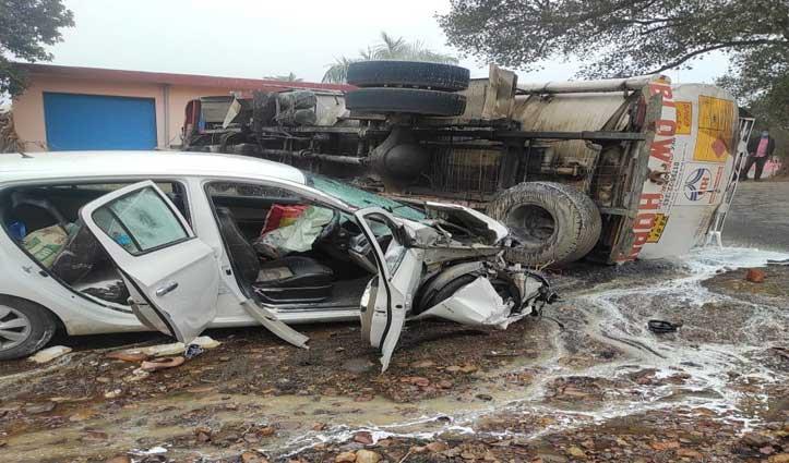 जसूर-तलवाड़ा मार्ग पर Car से टकराने के बाद पलटा तेल से भरा टैंकर, महिला जख्मी