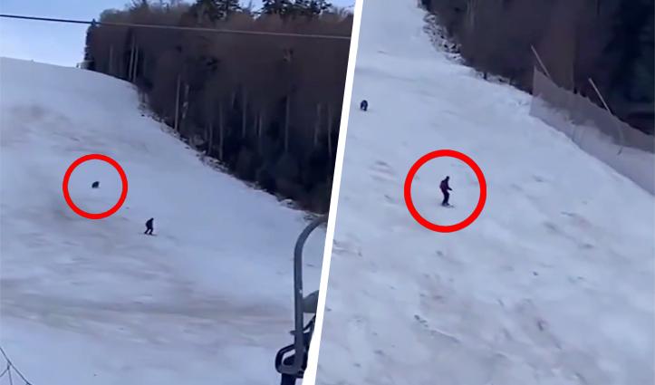 पहाड़ पर पीछे पड़ा भालू, स्कीयर ने क्या किया… देखें Video