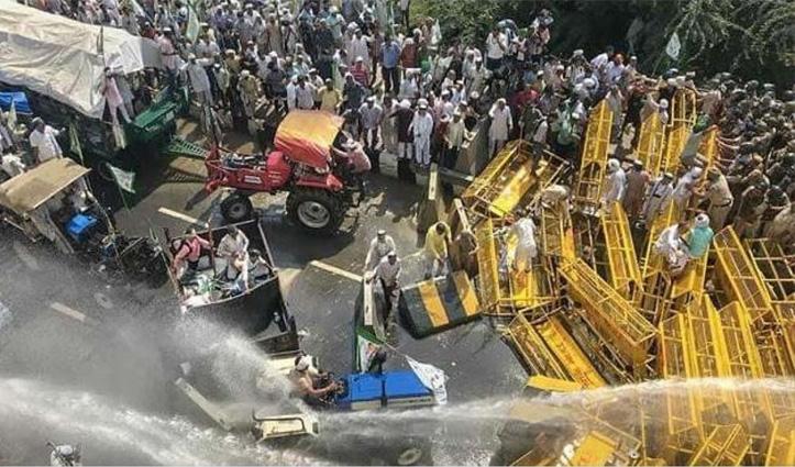 #Farmersprotest : शाहजहांपुर बॉर्डर में पुलिस का किसानों पर लाठीचार्ज, NH पर 5 किमी लंबा जाम