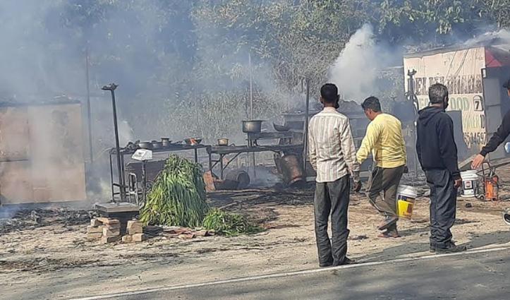 Una के गगरेट में ढाबे में लगी आग, मालिक ने भाग कर बचाई जान
