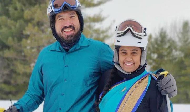 इस कपल ने साड़ी और धोती पहनकर की गजब की Skiing, वीडियो देख हर कोई हैरान