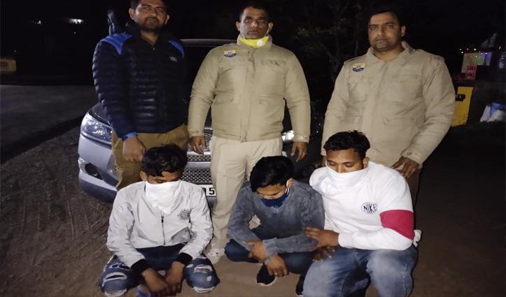 नाके पर थी पुलिस , गाड़ी में जा रहे थे अंबाला के युवक तलाशी ली तो मिली 1.24 किलो चरस