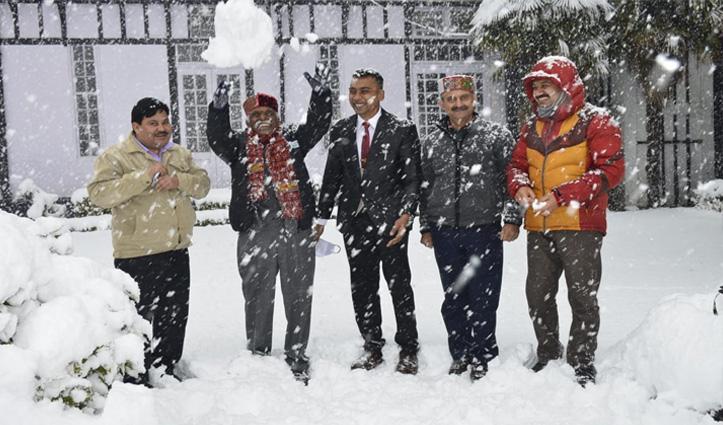 राज्यपाल दत्तात्रेय ने लिया बर्फ का आनंद