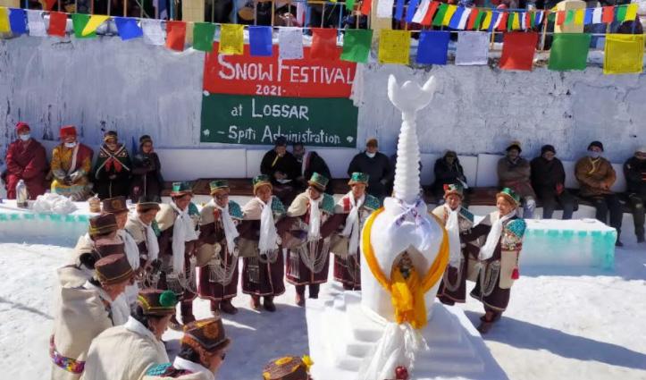 Lahul Spiti Snow Festival : लोसर में पारंपरिक वस्तुओं की झलक, महिलाओं ने पेश किया टाशी नृत्य