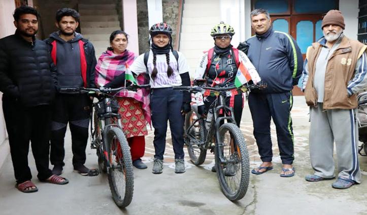 बाघा बार्डर से टीजू तक की साइकिल यात्रा पर निकली युवतियां मंडी पहुंची
