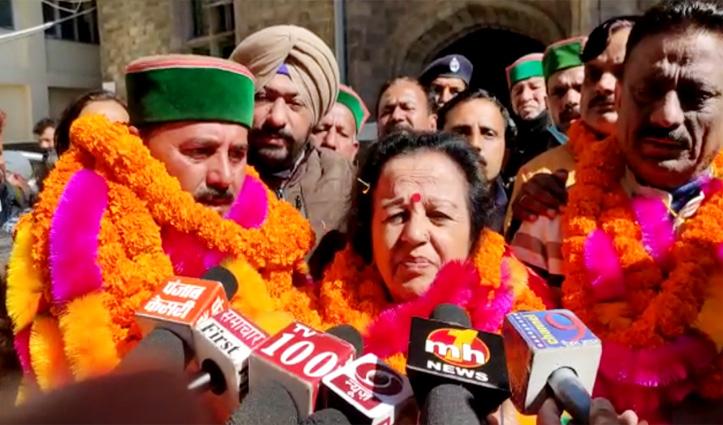 शिमला जिला परिषद पर कांग्रेस का कब्जाः चंद्रप्रभा नेगी अध्यक्ष  व सुरेंद्र  बने उपाध्यक्ष