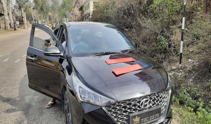 बिलासपुर पुलिस ने पकड़ी दो नंबर प्लेट्स लगी गाड़ी , ठोका जुर्माना