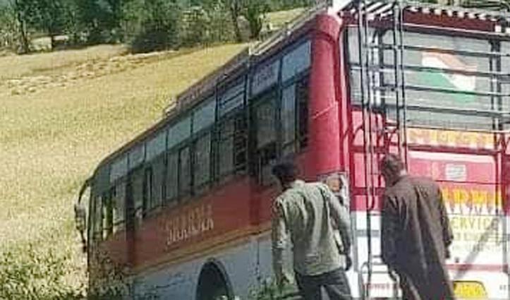 कालाअंब- पांवटा साहिब एनएच पर निजी बस का पट्टा टूटा, हादसा टला