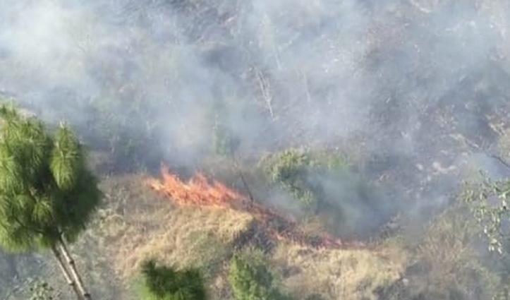 सिरमौर की भराड़ी पंचायत के जंगल में घासनियों में लगी आग बेकाबू
