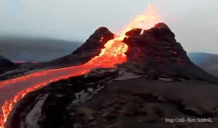 ड्रोन ने नजदीक जाकर कैप्चर किया ज्वालामुखी का वीडियो, देखने में हैं खतरनाक