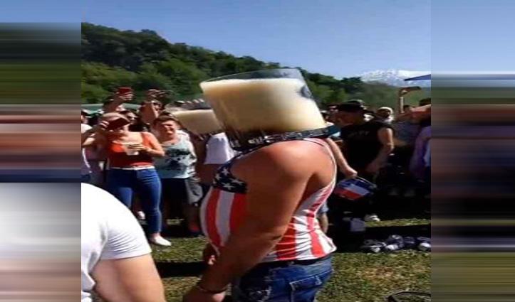 ये क्या ! कुछ सेकेंड में बाल्टी भर बीयर गटक गया शख्स, देखिए वीडियो