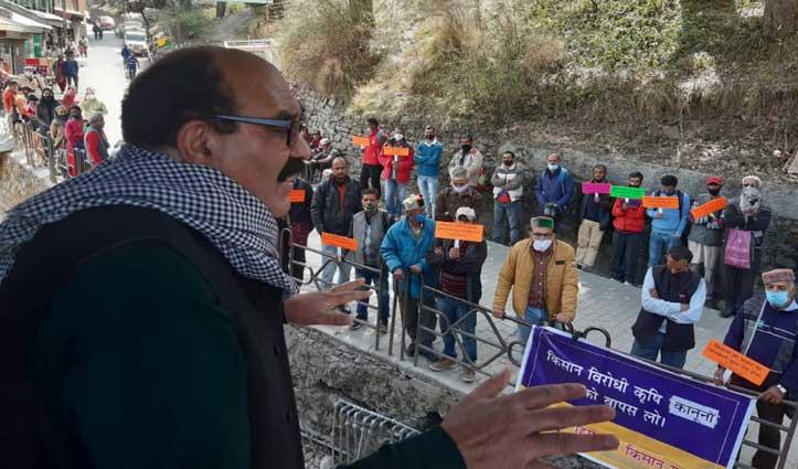 किसानों ने गाजे-बाजे के साथ शिमला में किया प्रदर्शन, कृषि कानून वापस लेने की उठाई मांग