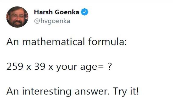 बिजनेसमैन हर्ष गोयनका ने शेयर किया मैथ का मजेदार फॉर्मूला, आप भी एक बार करें ट्राई
