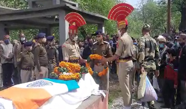 बीएसएफ जवान नरेश कुमार को सैन्य सम्मान के साथ दी अंतिम विदाई