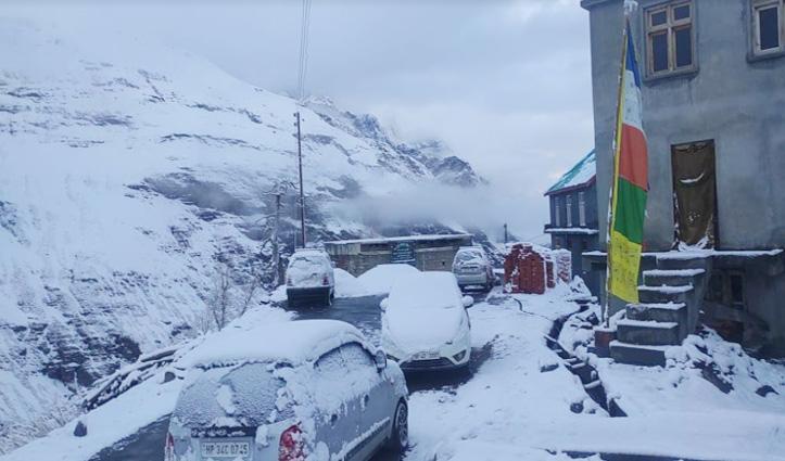 लाहुल-स्पीति में ताजा बर्फबारी के बाद मनाली-लेह नेशनल हाईवे पर यातायात बंद