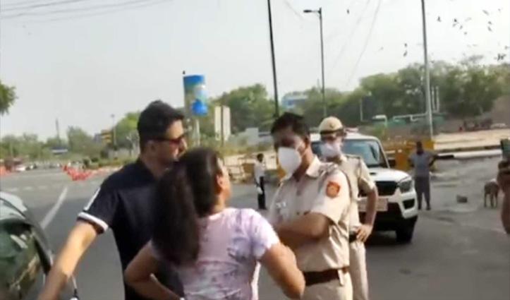 बिना मास्क पकड़ा तो पुलिस वालों से भिड़ गई महिला, बोली- ना चालान भरूंगी ना मास्क पहनूंगी