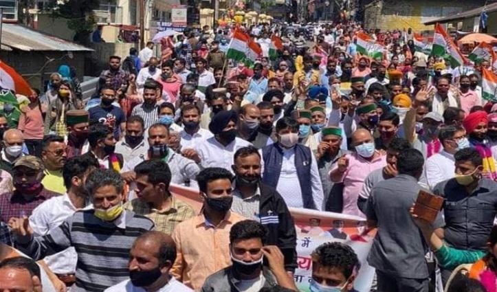 पालमपुर में कांग्रेस की विजयी रैली