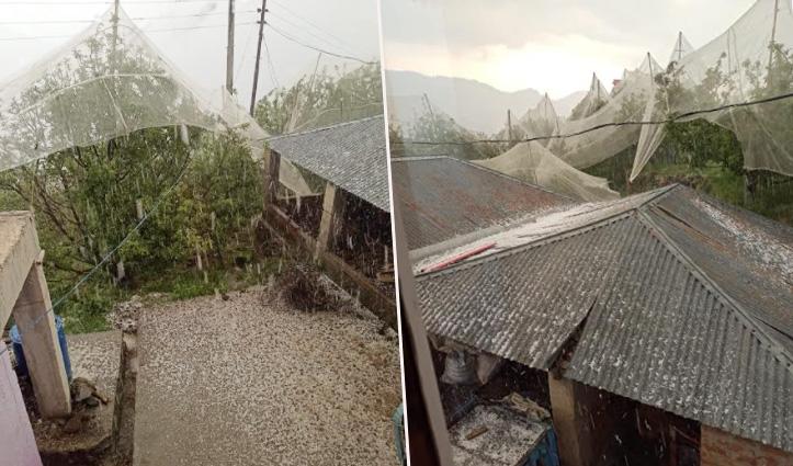 Shimla में बारिश और ओलावृष्टि से नुकसान, सिरमौर में मलबे में दबे तीन वाहन
