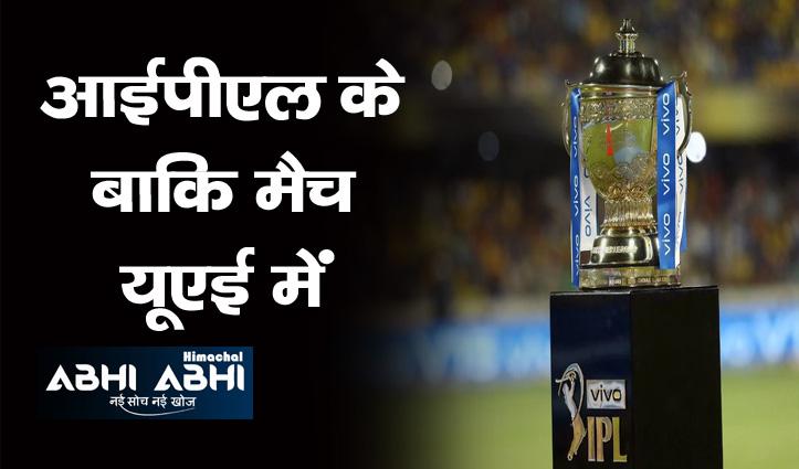 आईपीएल- 2021 के बचे हुए मैच यूएई में कराएगा बीसीसीआई