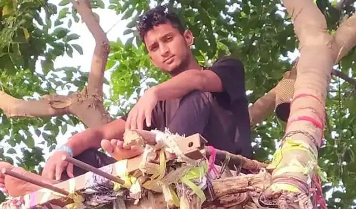 घर पर नहीं थी जगह तो युवक ने पेड़ पर बना डाला आईसोलेशन वार्ड
