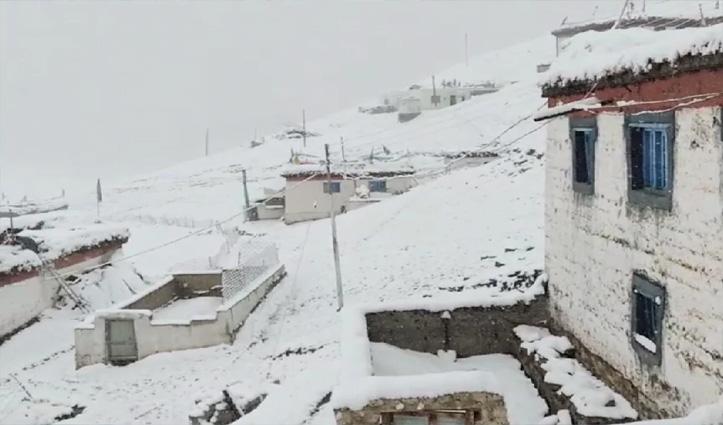 Himachal: किन्नौर-लाहुल में हिमपात, तापमान लुढ़का; जाने कब तक सताएगा मौसम