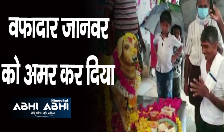 पालतू कुत्ते की बरसी पर इस शख्स ने बनवाई पीतल की मूर्ति, परिवार के साथ की पूजा