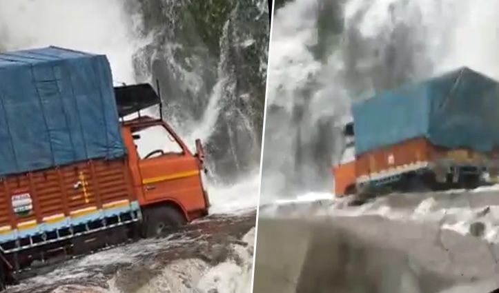 सिरमौर में बाढ़ के बीच फंस गया केंटर, फिर उफान पर आया कंडा नाला