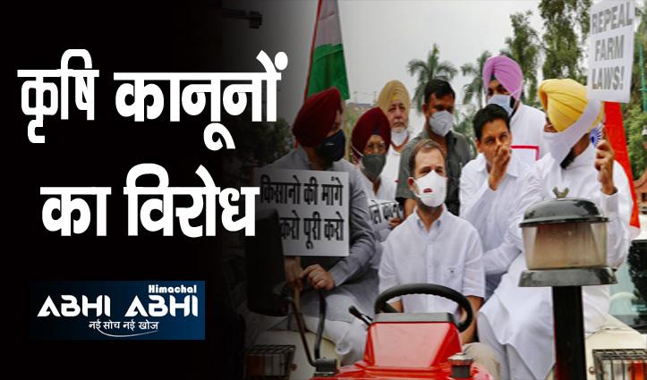 ट्रैक्टर चलाकर संसद पहुंचे राहुल गांधी, हिरासत में लिए सुरजेवाला