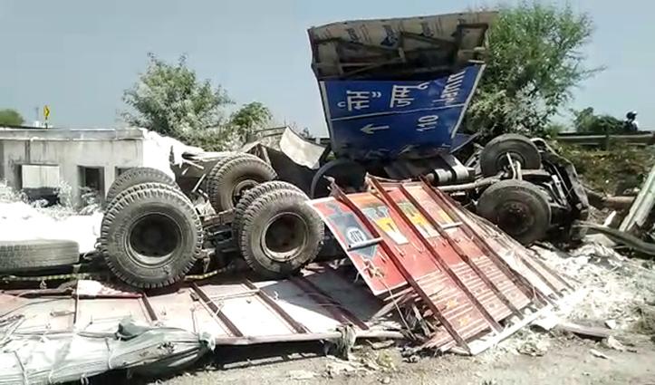 हिमाचल में अनियंत्रित ट्रक ने पहले साइन बोर्ड उखाड़ा फिर दुकान पर जा गिरा