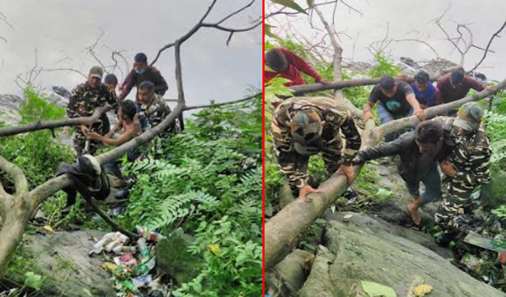 पुल से गिरकर नदी में फंसा व्यक्ति, फरिश्ता बनकर पहुंची ड्यूटी पर जा रही क्यूआरटी