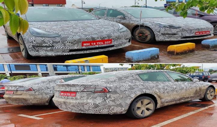 मुंबई-पुणे एक्सप्रेस -वे पर देखी गईं गोपनीय टेस्ला मॉडल की 3 कारें