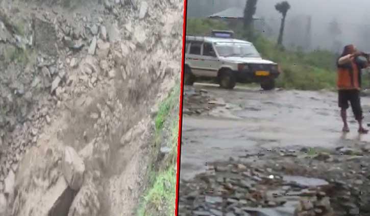 हिमाचल में फटा बादलः बह गई सड़क, पेयजल लाइन क्षतिग्रस्त-कई गांवों का संपर्क टूटा