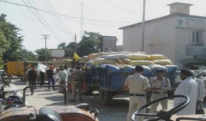 हिमाचल: धान की खरीद को लेकर आंदोलन, ट्रैक्टर लेकर लघु सचिवालय पहुंचे किसान