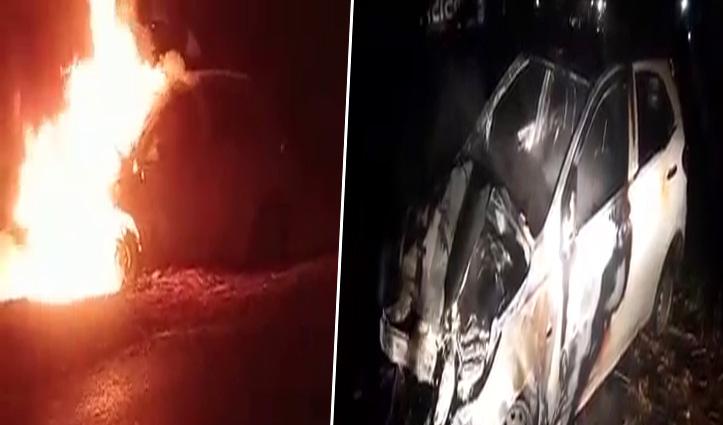 हिमाचलः पशु को बचाते कारों में हुई टक्कर और लग गई आग, चालक ने भागकर बचाई जान
